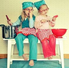 kids cook together